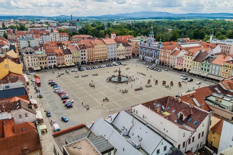 CESKE BUDEJOVICE, CZECH REPUBLIC - JUNE 14, 2016: Aerial view of Premysl Otakar II. square in Ceske Budejovic. E royalty free stock photography