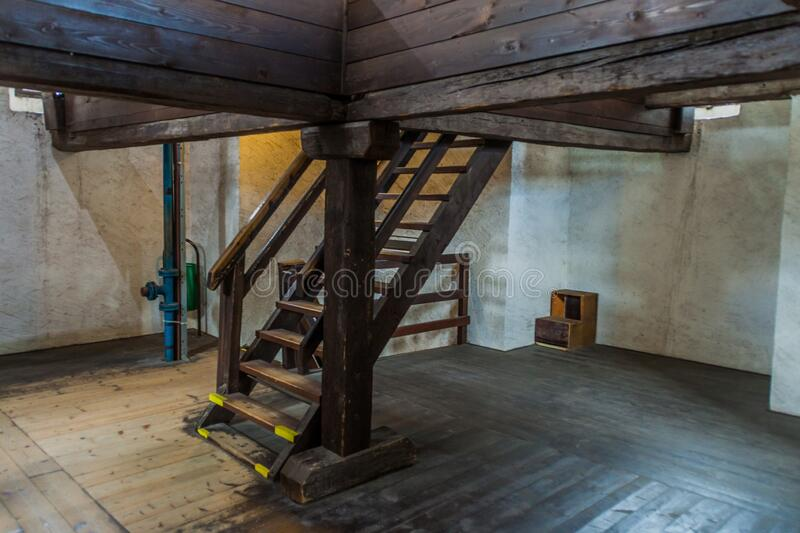 CESKE BUDEJOVICE, CZECH REPUBLIC - JUNE 14, 2016: Interior of the Black Tower Cerna vez in Ceske Budejovice, Czech Republ. Ic stock photography