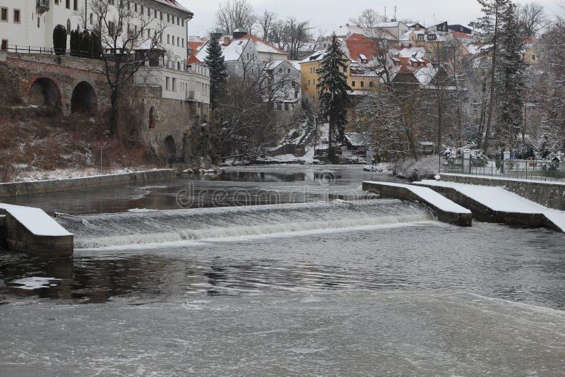 Cesky Krumlov στη χειμερινή διάθεση στοκ εικόνα με δικαίωμα ελεύθερης χρήσης