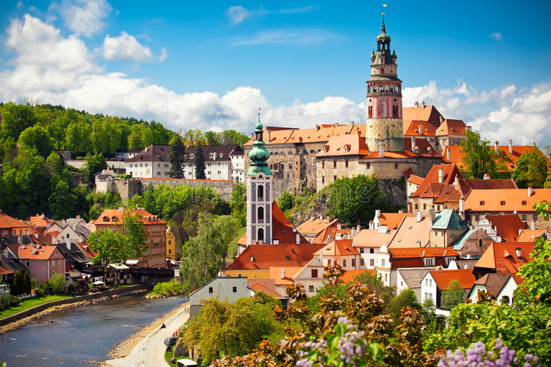Cesky Krumlov. Beautiful view to church and castle in Cesky Krumlov, Czech republic royalty free stock photography