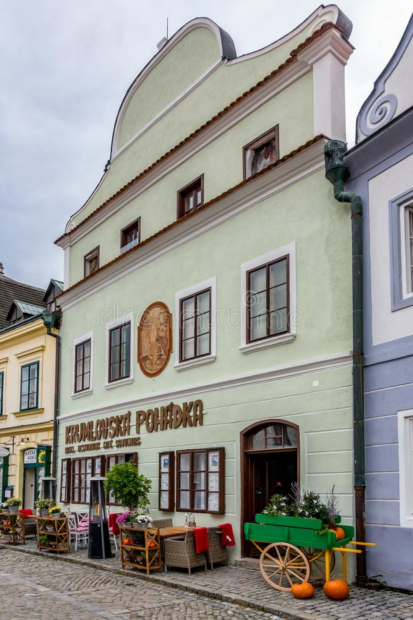 CESKY KRUMLOV, BOHEMIA/CZECH REPUBLIC - SEPTEMBER 17 :Traditional Architecture and Design in Krumlov in the Czech Republic on Sep stock photo