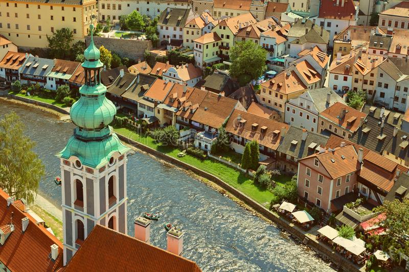 CESKY KRUMLOV, BOHEMIA, CZECH REPUBLIK - View at The Old town and Moldau River royalty free stock image