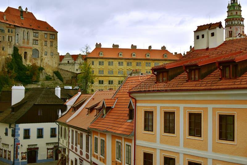 Cesky Krumlov Church Castle Day Autumn royalty free stock photos