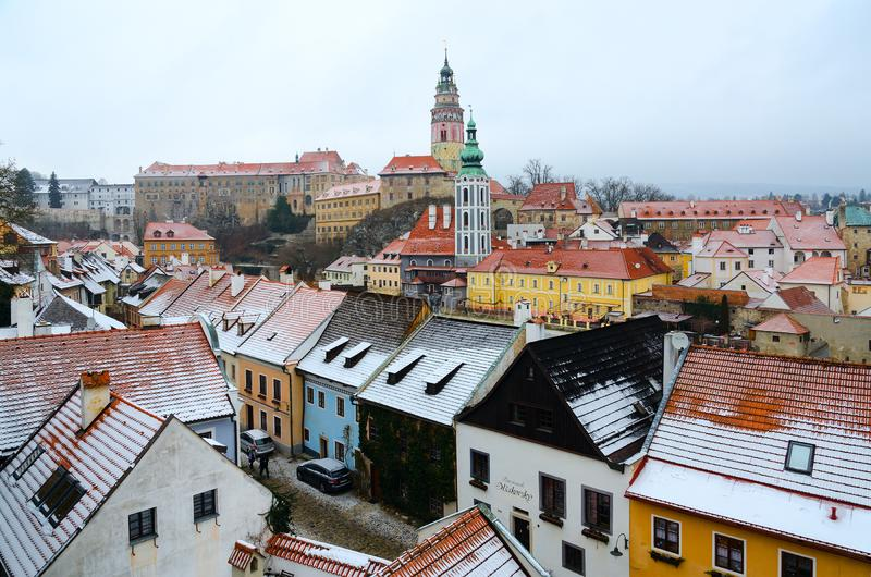 Top view of castle and historical center of small medieval town of Cesky Krumlov, winter landscape, Czech Republic stock photos