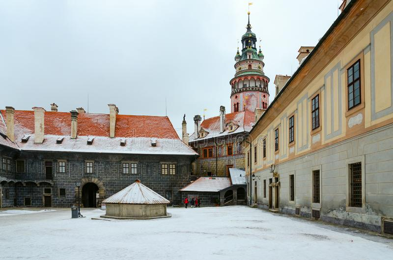 Tower of famous Krumlov Castle, Cesky Krumlov, Czech Republic royalty free stock images