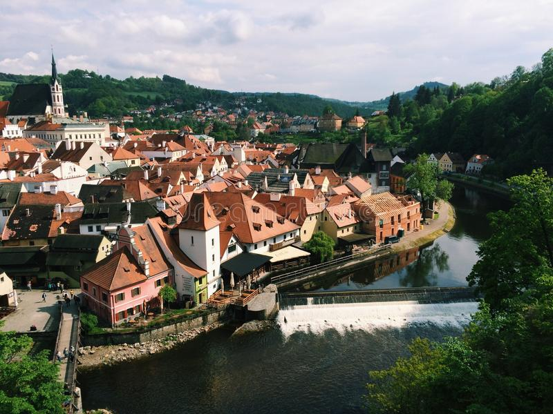 Cesky Krumlov - Czech Republic - May 2016. View of the old city center, the castle and Vltava. Is an object of UNESCO royalty free stock photo