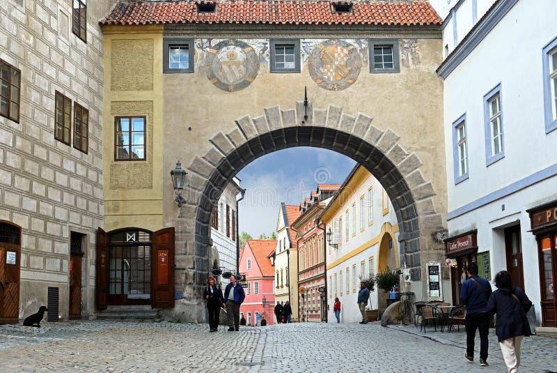 CESKY KRUMLOV, CZECH REPUBLIC - OCTOBER 02, 2018: Street with buildings of medieval architecture in the city of Cesky Krumlov. stock photo