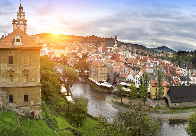 Cesky Krumlov. Czech Republic. Panorama of city royalty free stock images