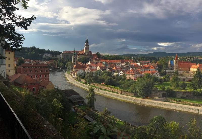 Cesky Krumlov. Czech Republic. Panorama of city royalty free stock photography