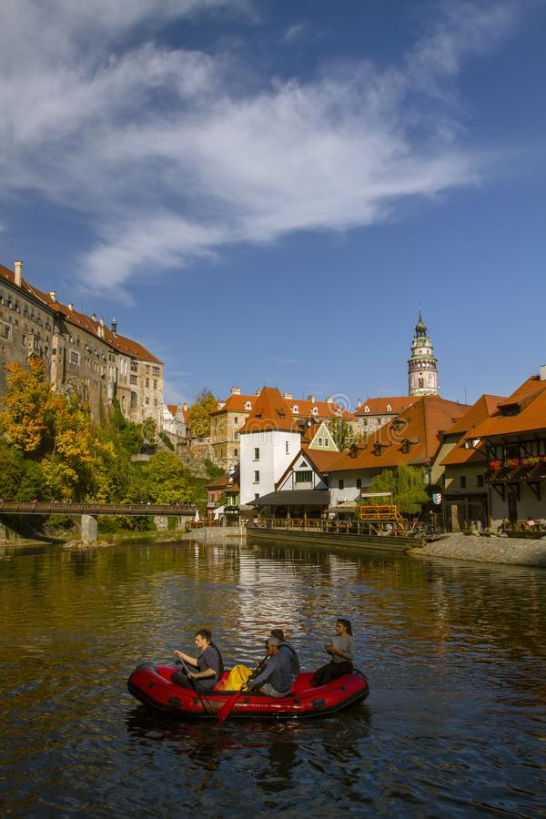 CESKY KRUMLOV , Czech Republic. On september 29 , 2019. Travelers are rafting in a canoe  down the beautiful river Vltava. stock photography