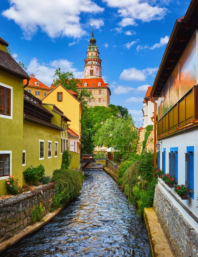 Cesky Krumlov Czech Republic. View to Castle Tower royalty free stock photos