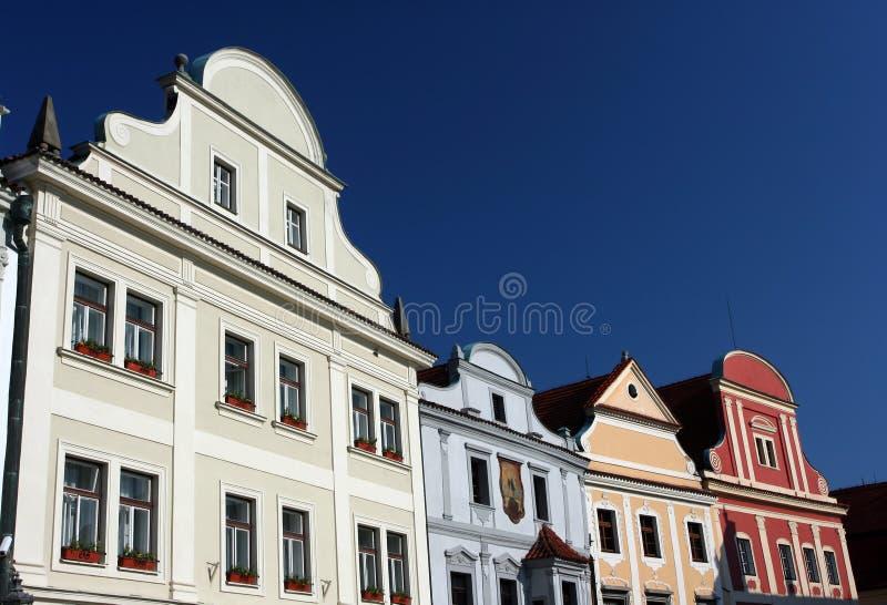 Cesky Krumlov Fassaden stockbilder