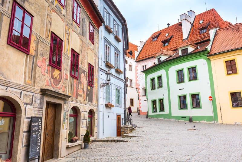 Cesky Krumlov historic center street view stock photo