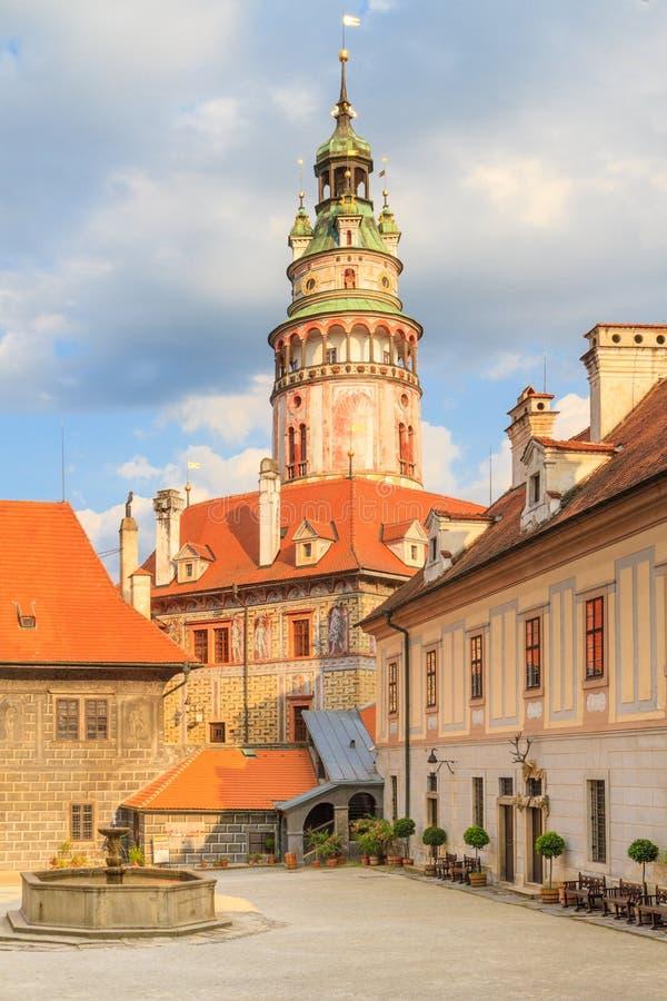 Cesky Krumlov / Krumau, View on Castle Tower stock images