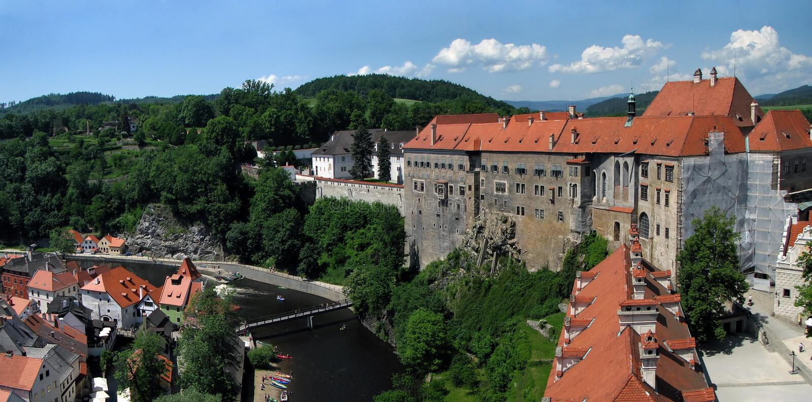 Cesky Krumlov panorama. View to world heritage castle of Cesky Krumlov wit Vltava river royalty free stock photo