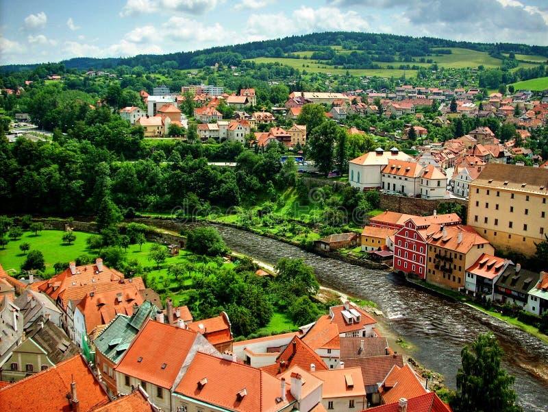 Cesky Krumlov Panorama. Czech Republic, Europe, UNESCO stock photography