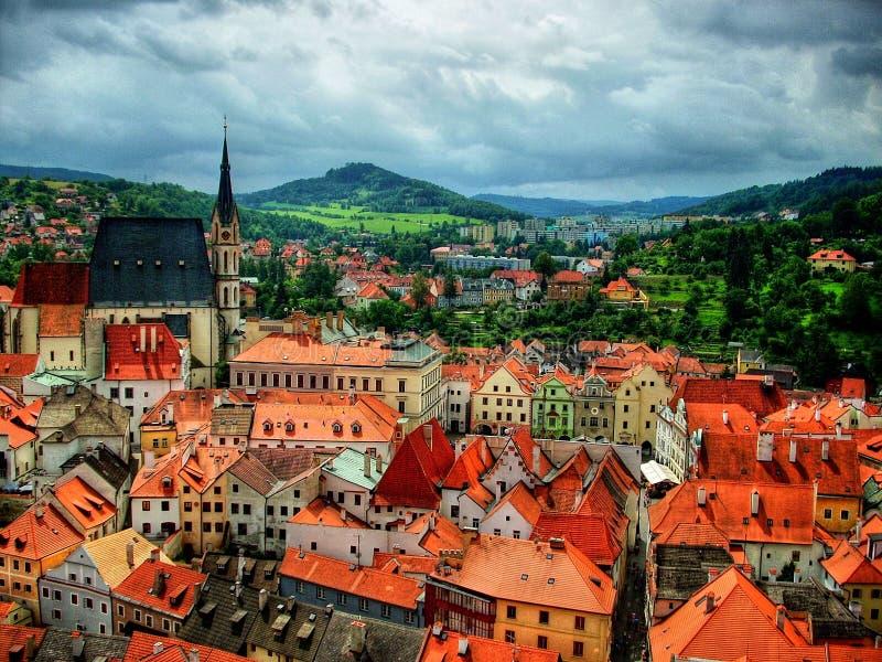 Cesky Krumlov Panorama. Czech Republic, Europe, UNESCO stock images