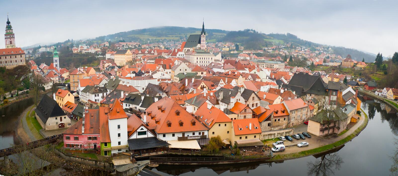 Cesky Krumlov panorama. Panorama of the of Cesky Krumlov old town, Czech Republic stock images
