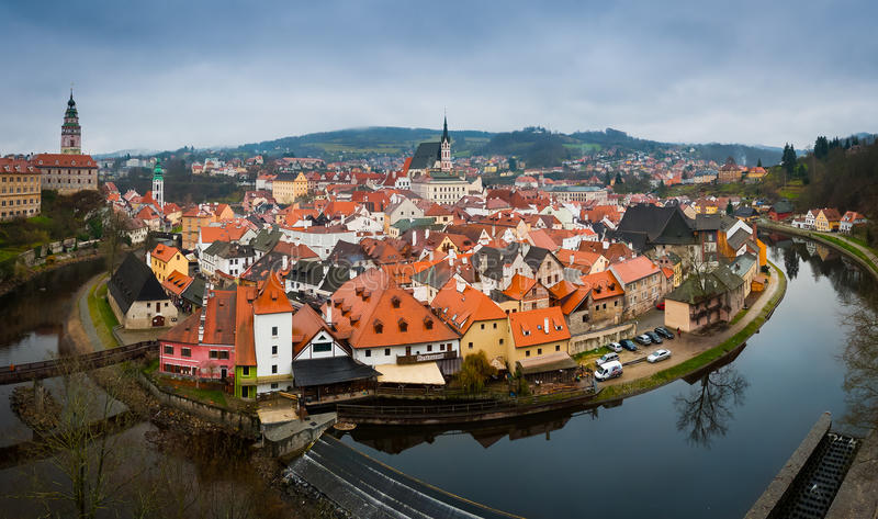 Cesky Krumlov panorama wide. Panorama of the of Cesky Krumlov old town and Vltava river, Czech Republic royalty free stock image