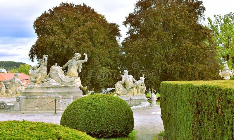 Cesky Krumlov Cascade Fountain Gardens stock photo