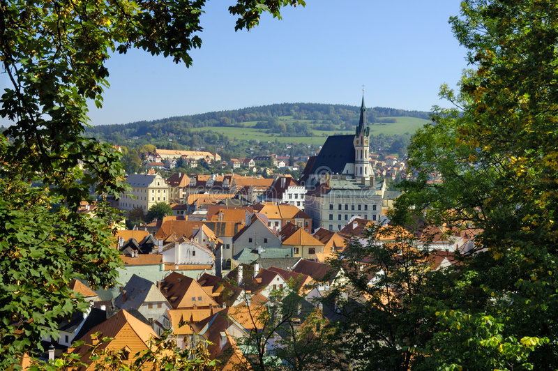 Cesky Krumlov view. The town of Cesky Krumlov is more and more turning into the final destination of thousands of visitors from our own country and abroad. This stock image