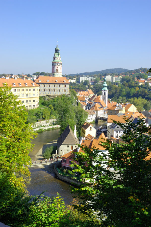 Cesky Krumlov view. The town of Cesky Krumlov is more and more turning into the final destination of thousands of visitors from our own country and abroad. This royalty free stock image
