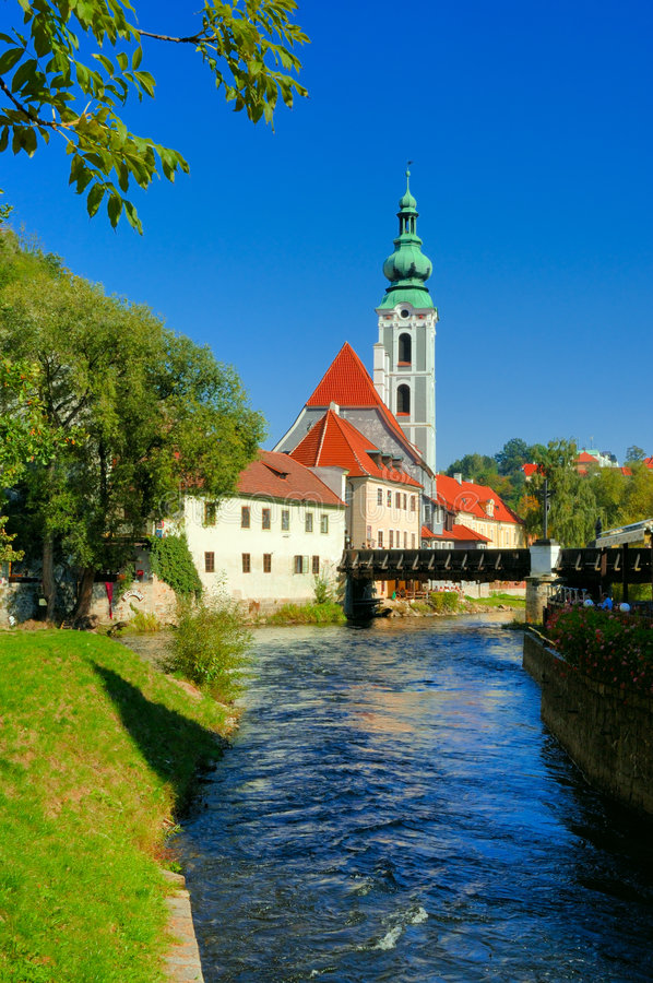 Cesky Krumlov view. The town of Cesky Krumlov is more and more turning into the final destination of thousands of visitors from our own country and abroad. This stock photos