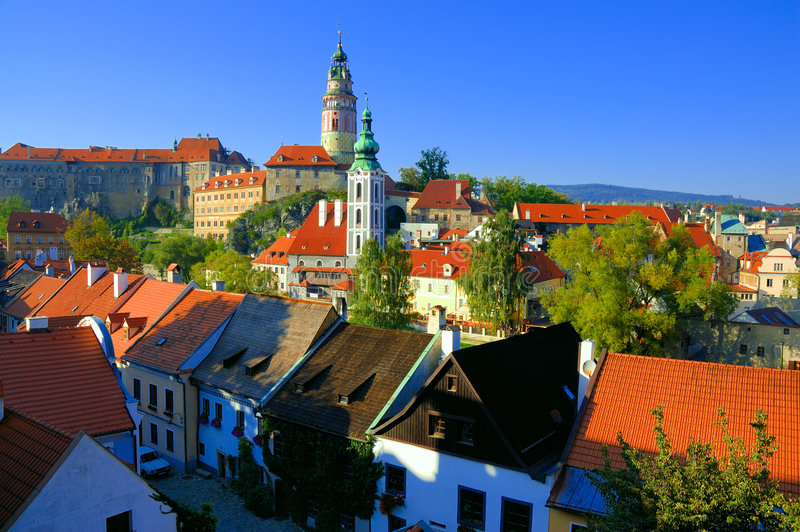 Cesky Krumlov view. The town of Cesky Krumlov is more and more turning into the final destination of thousands of visitors from our own country and abroad. This stock photography