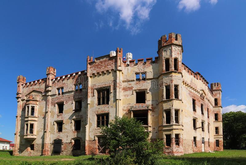 Cesky Rudolec Chateau. The Cesky Rudolehateau - the original water fortress was rebuilt in the 17th century into a Renaissance chateau. In 1860 the baroque stock photos