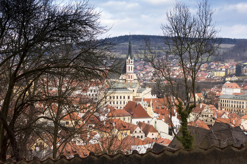 Cesky Trutnov, view of the city. View of red roof houses and a church tower of historical Europian city, Unesco site, Cesky Krumlov royalty free stock image