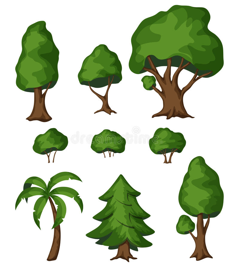 Cespuglio ed albero del parco illustrazione di stock