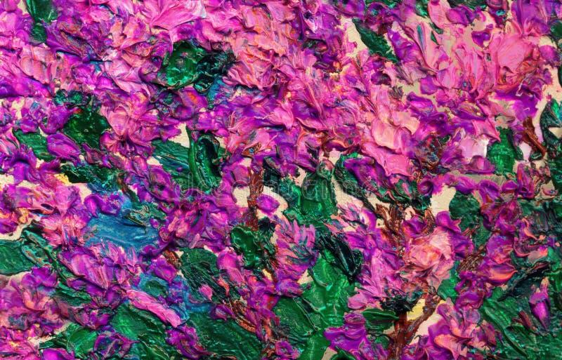 Cespuglio lilla della pittura a olio in primavera fotografia stock