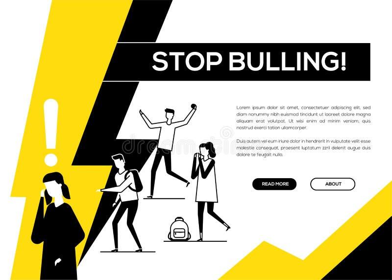 Cessez d'intimider - bannière plate de Web de style de conception illustration libre de droits