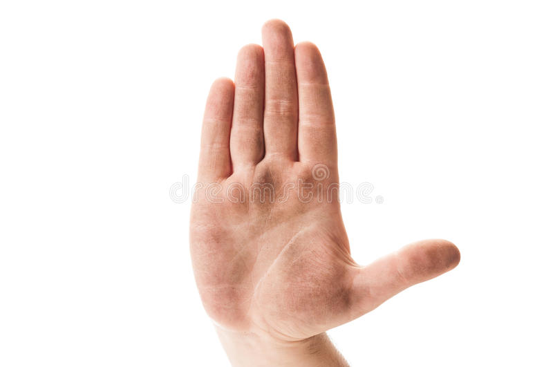 Cessez de prier le concept utilisant la main sans abri sale image libre de droits