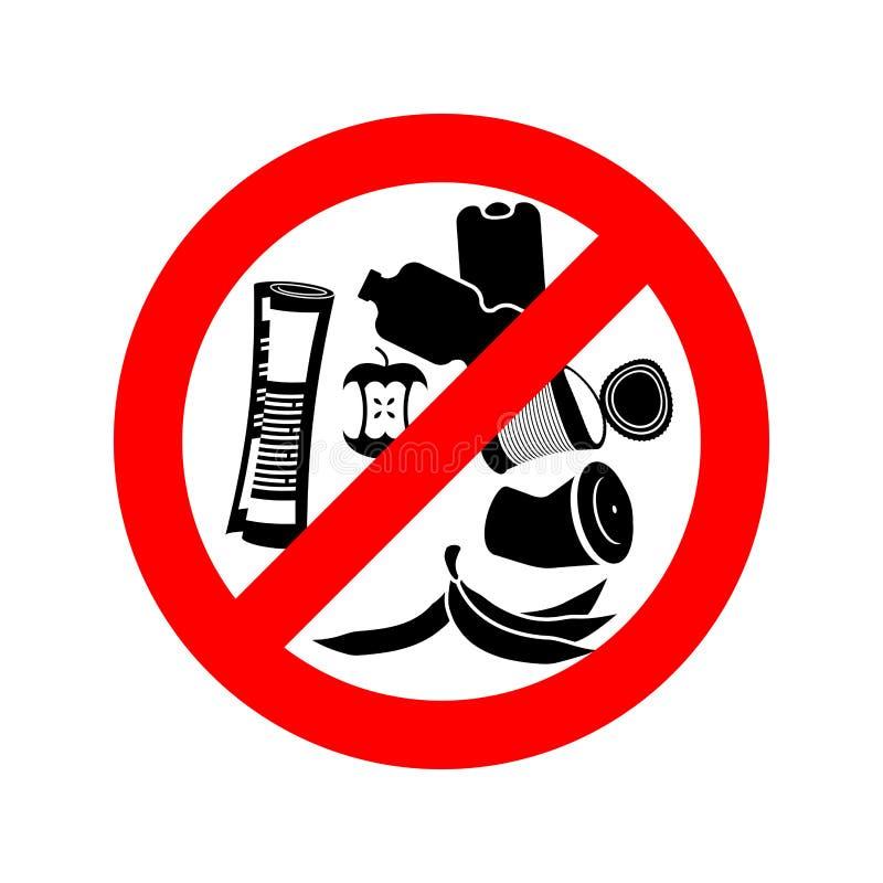 Cessez des déchets Déchets d'interdiction On l'interdit de salir circ rouge illustration libre de droits