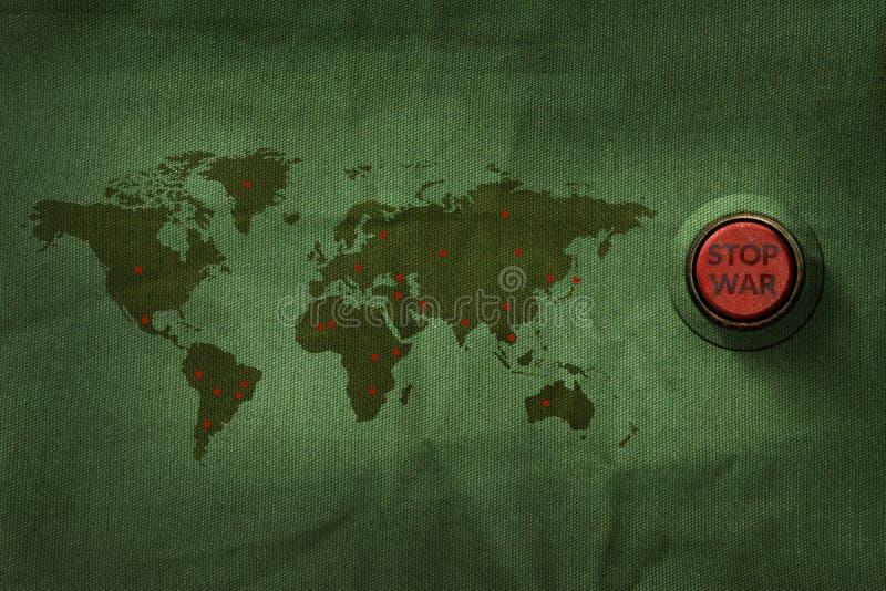 Cessez le concept de guerre, bouton pour pousser sur le tissu militaire Te de carte du monde illustration stock