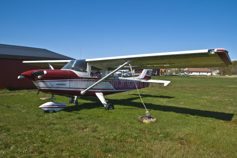 Cessna. Skyhawk is a highwing 4-seater, Sport Aeroplanes manufactured by the U.S.  Aircraft Company. The plane is built from aluminum and are usually equipped stock image