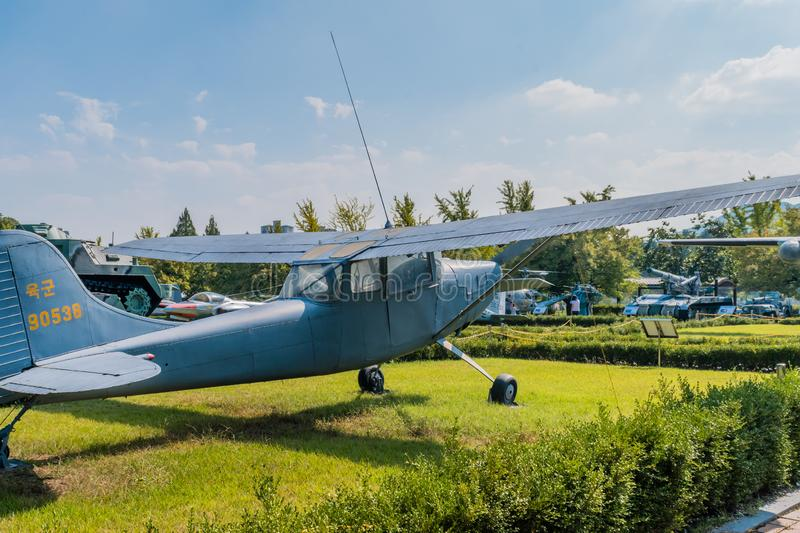 Cessna 140 aircraft. Daejeon, South Korea; September 29, 2019: Cessna 140 tail dragger aircraft used for military pilot training on display at National cemetery royalty free stock image