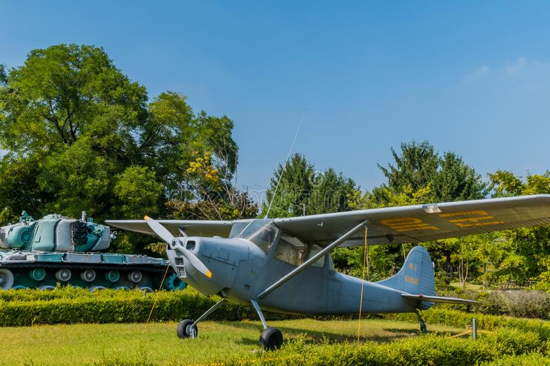 Cessna 140 aircraft. Daejeon, South Korea; September 29, 2019: Cessna 140 tail dragger aircraft used for military pilot training on display at National cemetery stock photos