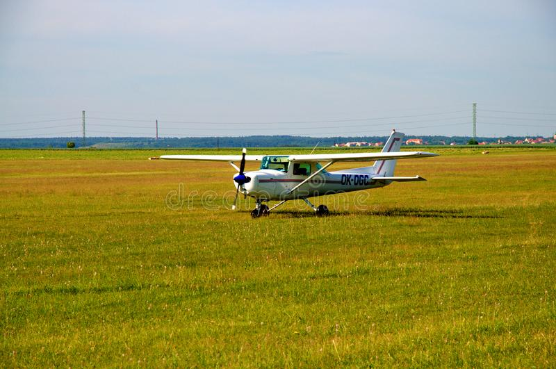 Cessna 152. The Cessna 152 is an American two-seat, fixed tricycle gear, general aviation airplane, used primarily for flight training and personal use royalty free stock image