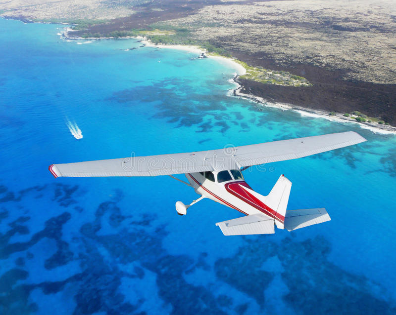 Cessna cruising stock photo