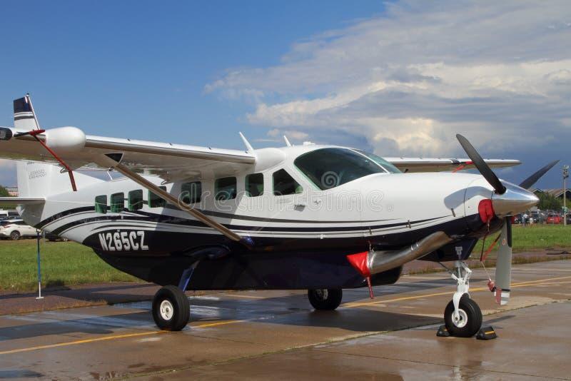 Cessna för Singel-motor turbopropmotorflygplan STORSLAGEN HUSVAGN på Inten royaltyfri foto
