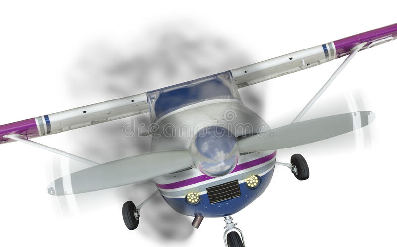 Cessna 172 Front With Smoke Coming From Engine on White stock photo
