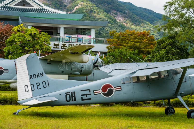 Cessna 140 and Grumman S-2 Tracker. Daejeon, South Korea; October 3, 2019: Cessna 140 and Grumman S-2 Tracker on display in public park at National Cemetery stock photography