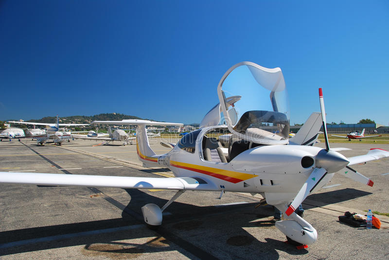 Diamond aircraft. On runway before takeoff stock photography