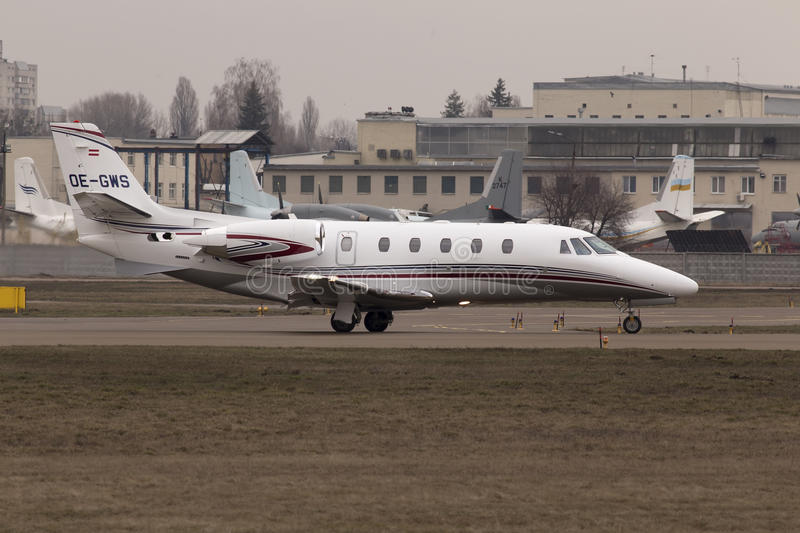 Cessna 560XLS Citation Excel business aircraft preparing for take-off from the runway. Kiev, Ukraine - March 15, 2015: Cessna 560XLS Citation Excel business stock image