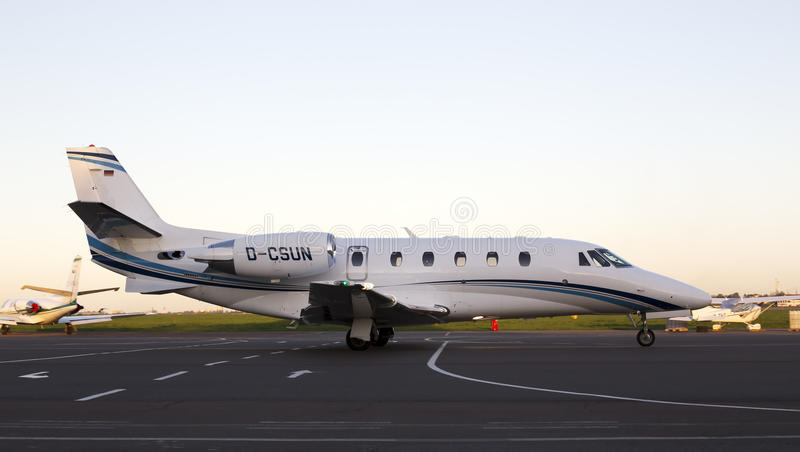 Cessna 560XLS Citation Excel business aircraft running on the runway stock image