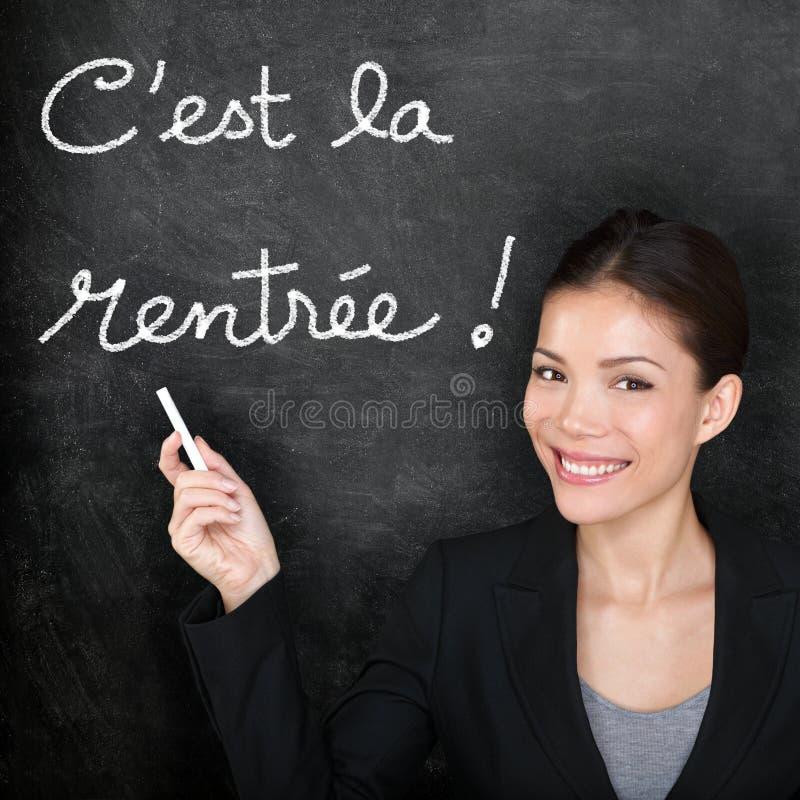 Cest la Rentree Scolaire -回到学校的法语 库存图片