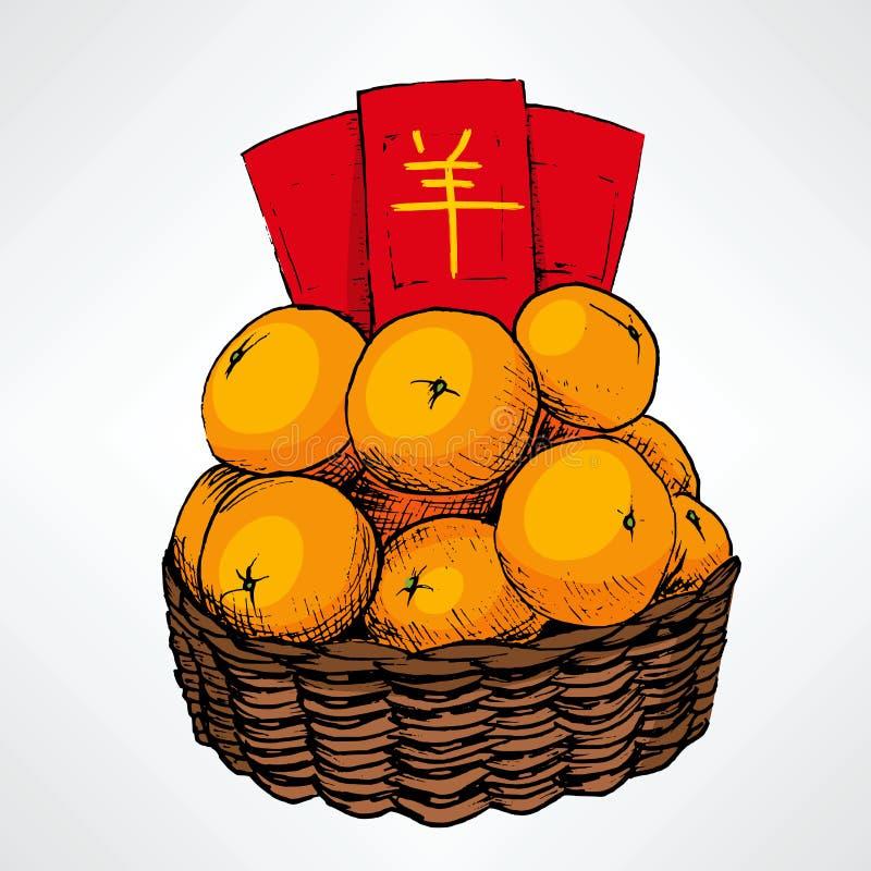 Cesta china de la mandarina del Año Nuevo stock de ilustración