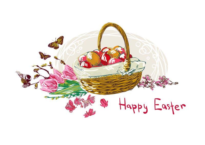 Cesta colorida de la flor del diseño del estilo de la pintura del vector de los huevos de Pascua ilustración del vector